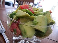 Avocado Salad: Ingredients 3 avocados, peeled, pitted and cut into 1-inch pieces 1 Roma tomato, chopped 1 tablespoon chopped parsley 1/4 teaspoon white wine vinegar juice of 1 lime 1/4 teaspoon sea salt 1/8 teaspoon pepper