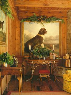 Carolyne Roehm in Aspen...A rustic Christmas...I love the large dog painting!