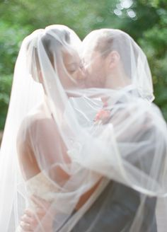 Wedding picture that incorporates the bride's veil. Pretty!