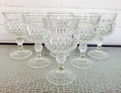 Indiana Glass Company Diamond Point Stemware by VintageTakes Diamond Point, Indiana Glass, Glass Company, Diamond Design, Crystals, Handmade, Stuff To Buy, Hand Made, Crystals Minerals