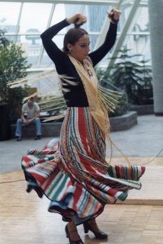 A flemenco dancer performing in the indoor skyway park in St. Paul, MN.  Film-based photo.  Early 80's, when I was still learning photography.