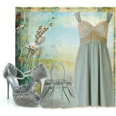 Blue slip dress monochromatic
