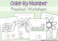4-page set of Color-By-Number pages for Preschoolers-Early Kindergartners
