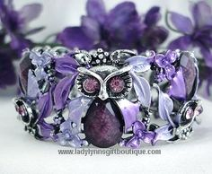 Lady Lynn's Gift Boutique - #29477 Vintage Fashion Purple Amethyst Owl Bangle Bracelet