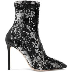 Jimmy Choo Ricky 100 leather-trimmed sequined stretch-knit sock boots (3.620 RON) ❤ liked on Polyvore featuring shoes, boots, black shoes, black slip on shoes, black stilettos, stiletto boots and black sequin boots