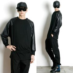 Remember Click Leather Sleeve Raglan Tee BLACK ONE SIZE Korean Wear #RememberClick #BasicTee