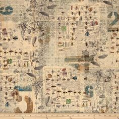 Designed by Tim Holtz for Westminster Fabrics, this cotton print collection is perfect for quilting, apparel, and home decor accents. Colors include tan, with shades of grey, black, and accents of sage green, brown, yellow, and blue.