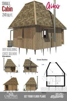 This small cabin design is perfect for all seasons. Although small cabin homes like Aiko are used primarily as vacation homes, they also can be used for all seasons' living in warmer climate zones. Small Cabin Plans, Small House Floor Plans, Small Cabins, Building Costs, Building A Tiny House, Building Ideas, A Frame Cabin, A Frame House, Wooden House Design