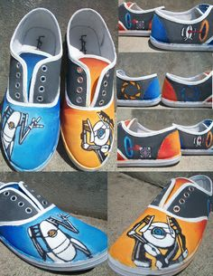 50 Unique And Wonderfully Geeky Hand-Painted Shoes (me and @sierravines114 PORTAL BUDDIES FOREVER!!!!)