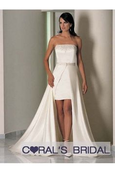 A058 two piece Ivory wedding dress bridal dress. something like this with not so much train, in blue for bridesmaids