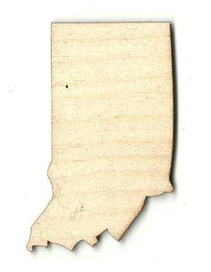 Indiana Unfinished Laser Cut Wood Shape