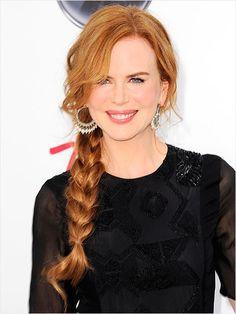 Braids, braided hair, braided hairstyles, hair inspiration, celeb hair, celebrity hair, Nicole Kidman, braided ponytail, neatly braided ponytail, loose bangs, bangs, side part
