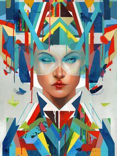 'Racer', another colorful portrait created by painter Erik Jones in Art And Illustration, Illustrations, Graffiti, Street Art, Art Simple, Psy Art, Amazing Paintings, Oil Paintings, Grid Design