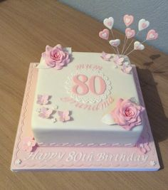 Great cake Source by Square Birthday Cake, Birthday Cake Roses, 90th Birthday Cakes, Bithday Cake, Birthday Cake For Mom, 90th Birthday Parties, Birthday Cakes For Women, Elegant Birthday Cakes, Birthday Cake For Women Elegant