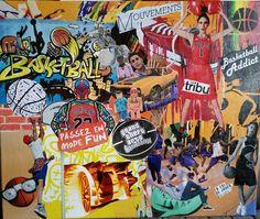"""Tableau """"Basket Ball"""" Collage créé pour l'anniversaire d'un jeune champion de basket.  Dimension toile : 46 x 55 cm"""