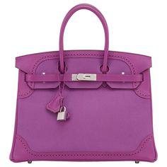 Hermes Anemone Ghillies Togo Swift Birkin Bag 35cm Palladium Hardware Limited 1