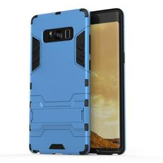 Silicone Holder Case + Plastic Hard Shockproof Armor Cases for Samsung Galaxy Note 8 sky blue Samsung Galaxy Note 8/ Note8 cases products shops store buy for sale  website online shopping free shipping accessories  phone covers beautiful gifts AuhaShop.com