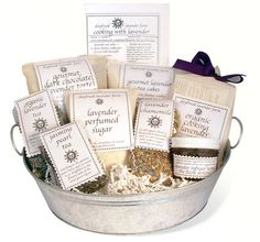 Taste of DayBreak Gift Basket - DayBreak's Gourmet department is in high creative gear. And they have gathered all our gourmet goodies in one stunning, beautiful gift basket: The Taste Of DayBreak!  http://www.daybreaklavenderfarm.com/store/Taste-of-DayBreak-Gift-Basket-pr-16628-c-372.html#