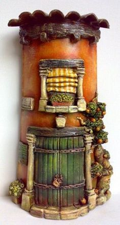 es Great idea for bottle decorating. Polymer Clay Projects, Polymer Clay Creations, Polymer Clay Art, Clay Fairy House, Fairy Garden Houses, Clay Houses, Ceramic Houses, Clay Roof Tiles, Clay Fairies