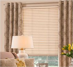 Graber wood blinds combined with a print grommet curtain on a decorative curtain rod. Fabric Blinds, Grommet Curtains, Curtains With Blinds, Drapery Panels, Elegant Curtains, Colorful Curtains, Home Decor Trends, Home Decor Inspiration, Decor Ideas