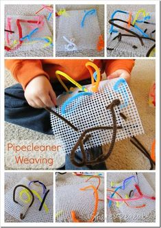 Pipecleaner Weaving. Fine motor development and hand-eye coordination is important in the development of young children. This activity involves both and allows the child to be creative.