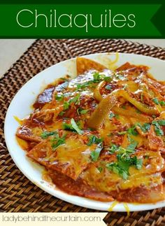 Chilaquiles taste just like cheese enchiladas. Check out this easy Mexican recipe When visiting my family in Southern California {and by southern I mean only a few miles from the Mexican border} I discovered Chilaquiles. The first time Mexican Cooking, Mexican Food Recipes, Vegetarian Mexican, Mexican Breakfast Recipes, Shrimp Recipes, Easy Mexican Dishes, Chicken Recipes, Mexican Snacks, Tapas
