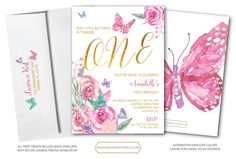 Butterfly First Birthday Invitation // Butterflies // 1st Birthday Invitation // Butterfly // Floral // Watercolor // VICTORIA COLLECTION by MerrimentPress on Etsy https://www.etsy.com/listing/494237793/butterfly-first-birthday-invitation