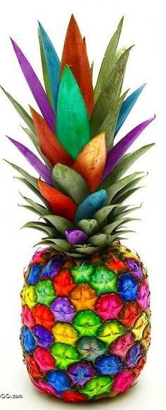 Het is figuratief vereenvoudigd, het lijkt op de werkelijkheid maar er bestaan geen gekleurde ananassen