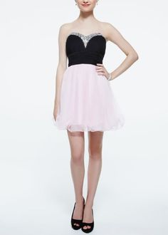 A classic prom choice - love the combo of ballet pink and black.