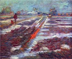 Landscape with Snow - Vincent van Gogh, 1888