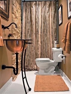 Copper Sink with Black Wrought Iron... Lovely... Copper Bathroom, Bathroom Fixtures, Brown Bathroom, Southern Living Rooms, Steampunk Bathroom, Piece A Vivre, Country Style Homes, Country Decor, Modern Country