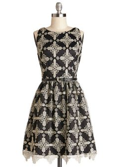 A Lot of Lovely Dress - Black, Gold, Print, Belted, Cocktail, A-line, Better, Crew, Knit, Mid-length, Lace, Scallops, Sleeveless, Lace