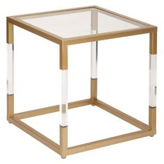 DecMode Glass and Acrylic End Table