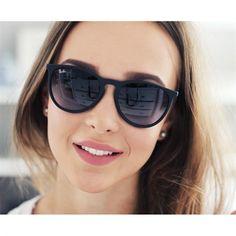 0efee89c6cbdc Óculos de Sol Ray Ban Erika Metal Preto com Lente Cinza - RB35390028G Ray  Ban Women