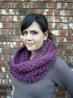 Chunky Hooded Crochet Cowl Scarf Fig by DustyBlueSuede on Etsy