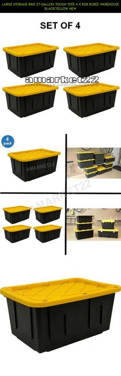 Large Storage Bins 27-Gallon Tough Tote 4 x Box Boxes Warehouse Black/Yellow NEW #yellow #fpv #tech #storage #parts #shopping #camera #plans #drone #gadgets #racing #products #technology #kit