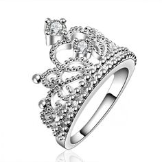 Christmas Gift silver plated vintage jewelry aliancas casamento austrian crystal crown rings for women