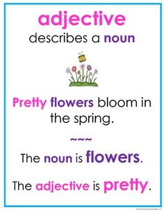 FREEBIE! Parts of Speech posters for noun, verb, adjective, adverb.