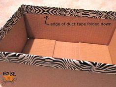 "Cute boxes made from cardboard + patterned ""duck"" tape"