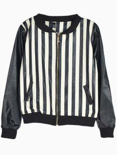 Stripe Bomber Jacket   Choies