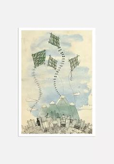 Americanflat Sweet William Four Happy Kites Graphic Art on Gallery Wrapped Canvas Size: Art And Illustration, Illustrations, Frames On Wall, Framed Wall Art, Art Texture, Kite Making, Painting Prints, Art Prints, Go Fly A Kite