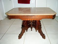 Antique Solid Walnut Eastlake Victorian Pink Marble Top Coffee Table 1800's