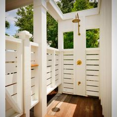 Outdoor Shower - Design photos, ideas and inspiration. Amazing gallery of interior design and decorating ideas of Outdoor Shower in home exteriors, decks/patios, bathrooms by elite interior designers. Outdoor Bathrooms, Outdoor Rooms, Outdoor Living, Outdoor Kitchens, Indoor Outdoor, Indoor Pools, Chic Bathrooms, Bathroom Vanities, Bathroom Ideas
