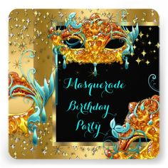 Find customizable Masquerade Party invitations & announcements of all sizes. Pick your favorite invitation design from our amazing selection. Masquerade Party Invitations, Birthday Party Invitations, Halloween 2018, Happy Halloween, Sweet 16 Masquerade, Gold Birthday Party, Teal Blue, Invitation Design, Mardi Gras