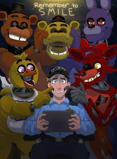 HAPPY (slightly late) BIRTHDAY, FNAF! After a huge nostalgia trip and after binge watching smike, old matpat theories, and other 2015 fnaf videos I finally finished it. There was supposed to be more. Five Nights At Freddy's, Fnaf Golden Freddy, Freddy S, Fnaf Wallpapers, Fnaf Characters, Late Birthday, Happy Birthday, Anime Fnaf, Fnaf 1