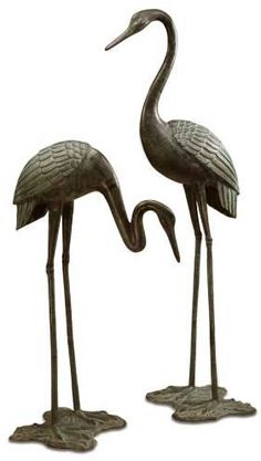 SPI Gallery, Large Garden Crane Pair with delicate long necks and extra long legs in rust free brass. Great for display in the home or outdoor garden. Garden Statues For Sale, Pvc Pipe Crafts, Welding Art Projects, Wood Bird, Tree Sculpture, Bird Drawings, Yard Art, Clay Art, Metal Art