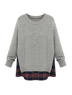 JollyChic.com Solid Colour and Plaid Fake Two Pieces Women Rounded Collar Sweater