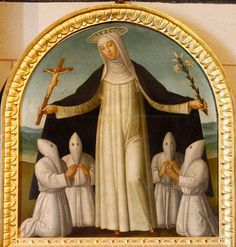 Giacomo Pacchiarotti (?), Saint Catherine Protecting Four Confraternity Brothers Under her Cloak, 16th century.