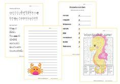 Zomerpakket bovenbouw bestaande uit: husselwoorden, geheimschrift, diverse schrijflijnen en een woordzoeker.
