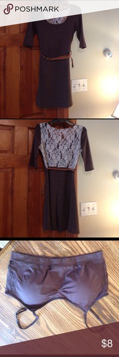 Lace back dress This dress is cute with brown tights or leggings and boots! The bra is great so you can wear one without it showing through lace in the back. The belt is an idea but not sold with the dress. Worn twice. Like new Charlotte Russe Dresses Mini